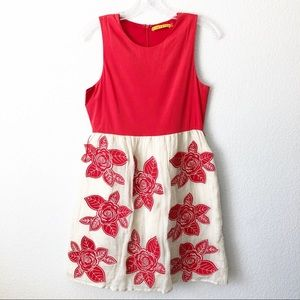 Alice and Olivia Red Silk Floral Short Dress